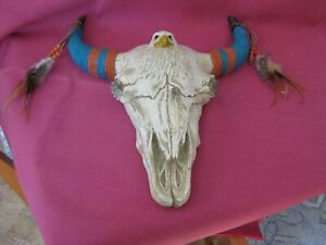 """Resin Longhorn Cow Skull Wall Hanging Decor 12 x 13"""" with eagle & wrapped Horns"""