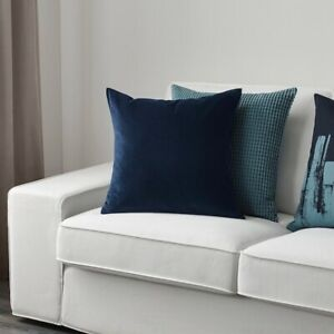 IKEA SANELA Velvet Cotton Navy Square Cushion Cover 50 x 50 cm