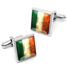Ireland Flag Sterling Silver Irish National Republic Mens Cufflink Set w/ Box