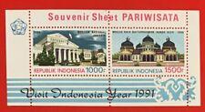 Indonesia 1991 PARIWISATA TOURISM, Souvenir Sheet S/S SCV $17
