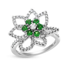 0.90 Ct. Natural Diamond & Russian Chrome Diopside Flower Star  Ring in 14k Whit