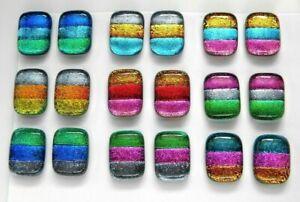 MATCHING PAIR Lot 18 pcs EARRINGS HANDMADE DICHROIC FUSED GLASS (BJ10) CABOCHON