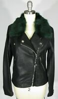 BLANK NYC Size S Black Faux Leather Green Faux Fur Trim Collar Moto Jacket NWT