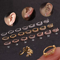 Surgical Ear Piercing CZ Tiny Leaf Stud Barbell Earring Cartilage Helix Tragus