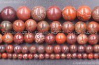 Natural Red Brecciated Jasper Gemstone Round Beads 4mm 6mm 8mm 10mm 12mm 16''