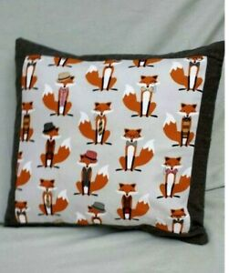 "Fox Pillow Cover 18"" x 18"" Fedoras and Bow Ties Animal Gray Brown"