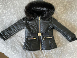 RIVER ISLAND Baby Girl Faux Leather Jacket VGC 18-24 Months