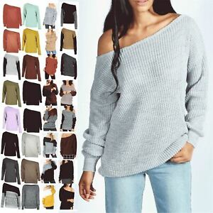 Ladies Off The Shoulder Chunky Knitted Oversized Jumper Womens Baggy Sweater Top