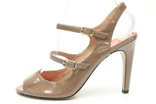 Via Spiga Womens Brown Patent Leather Open Toe Heels Slingback Sandals Size 7