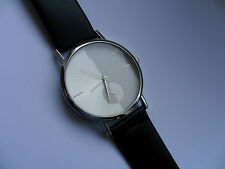 SALE  Smart White and Silver  Faced Quartz Watch Black Strap