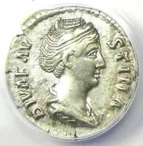 Diva Faustina AR Denarius Silver Roman Coin 147 AD - Certified ANACS XF45 (EF)