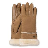 UGG Australia Womens Shearling Sheepskin Leather Exposed Slim Fit Tech Gloves Lg