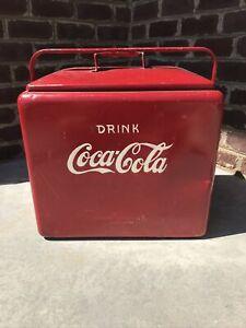 Vintage Coca Cola Progress Refrigerator Company Louisville Kentucky Metal Cooler