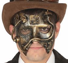 Herren Gold Steampunk Maske viktorianisch Gothik Verkleidung Maskerade Zubehör