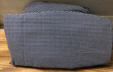 Set Vintage Ralph Lauren Twin Sheets Flat & Fitted Navy Blue Gingham 100% Cotton