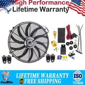 """16"""" Electric Radiator Cooling Fan 3000 CFM 130W Wiring Install Kit Thermostat US"""