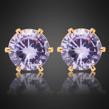 Lady Gift Tanzanite 18K Yellow Gold Plated Stud Earrings Jewelry Fashion