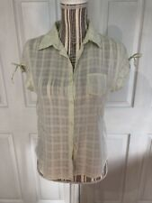 Quizz Women's Size Large Casual Short Sleeve Botton Down Lime Shirt A-9