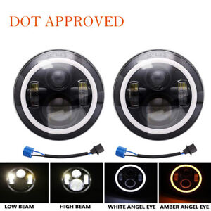 7Inch Round Black Led Headlights With DRL Hi/lo Beam FOR Chevrolet G10 20 30C10