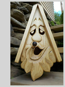 "NEW Unique Smokey Joe Bird House Hand Carved Rustic Cigar Face Wood Spirit 16"""