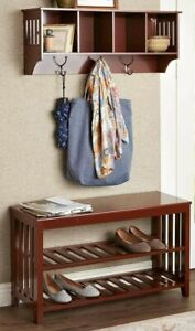 2 Piece Entryway Mud Room Wall Shelf Coat Rack & Shoe Storage Bench Seat