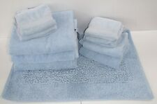 10 x Christy 1850 Cotton Blue Jumbo Bath Hand Mat Sheets Towels Set Bundle