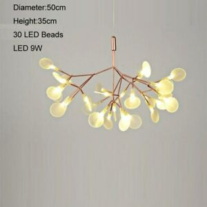Dimmable Cherry Chandeliers Lights Tree Leaf LED Pendant Lamps Gold Black Light