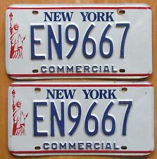 New York LIBERTY 1990's COMMERCIAL License Plate PAIR # EN9667