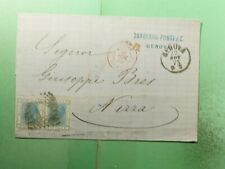 DR WHO 1873 ITALY GENOA FANCY CANCEL F/L TO FRANCE  g38279