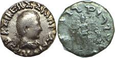 40-1 BC Indo-Greek Bactrian Kingdom Hermaios Zeus Seated Silver Drachm