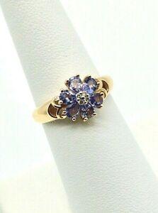 Genuine Tanzanite and Diamonds Solid 14k Yellow Gold Ladies Ring