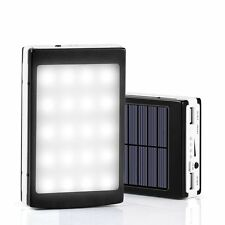 MEGA 20000mAh SOLAR POWER BANK CON LED LUMINOSO Pannello USB Caricabatterie Portatile Mobile