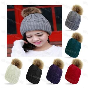 Ladies Beanie Hat Fleece Lined Cable Knitted With Detachable Fur Pom Pom Bobble