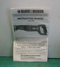 Black & Decker Cat. No.RS500 Variable Speed Reciprocating Saw Manual Only