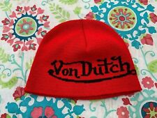 Von Dutch Snow Beanie ski cap red Knit One size snowboard snowmobile