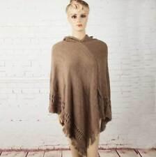 Women Poncho Stole Cape Shrug Shawl Jumper Sweater Hoodie Hood Fringes Plus Size