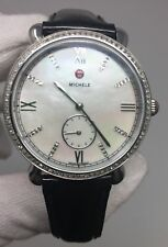 Michele Gracile 114 Diamonds MOP Black Patent Leather Women's Watch MW26A01A1046