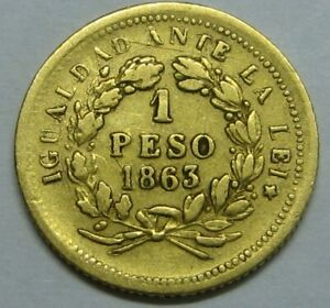1863 CHILE GOLD 1 PESO SANTIAGO REPUBLICA DE CHILE VERY SCARCE GOLD COIN