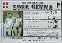 "TARGA VINTAGE 1932 CASA DI TOLLERANZA ""SORA GEMMA"" IMMAGINE RESTAURATA, BROTHEL"