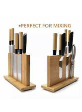 "Magnetic Knife Holder Large Bamboo Wood Knife Block Double Side Knife Block 12"""