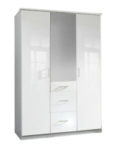 Clack 3 door White Wardrobe with Mirror and Drawers
