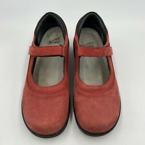 DANSKO Mary Jane Sport Shoes Women's Size EUR 39 US 8.5-9 Red Leather Suede