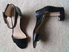 NINE WEST BLACK LEATHER SANDALS SIZE US 7M  UK 5 WORN ONCE