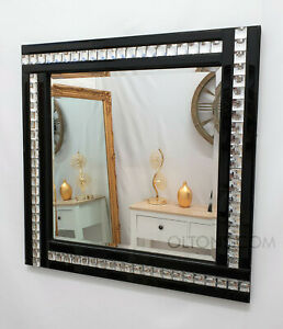 Square Art Deco Acrylic Crystal Design Frame Mirror Glass Bevelled 60x60cm Black