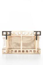 Charlotte Olympia Clear Perspex Gold Tone Metal Box Office Clutch Handbag New