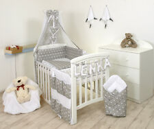 Grey Elephant 2pcs Baby Bedding Set Duvet/ Quilt Cover Pillowcase More Patterns Cot Bed 140x70 Stars Grey/white 9 PC