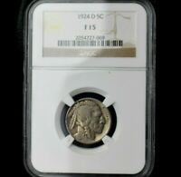 1924-D 5c Buffalo Nickel~Graded F 15 by NGC~