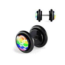 Acryl Fake Rainbow Lesben Plug Ohrstecker Tunnel hip Ohrring Cap Ø 10mm