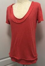 We The FREE PEOPLE JERSEY KNIT TOP Phoebe Double Layered TEE/T-SHIRT Red XS