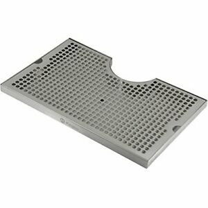 """Kegco SECO-1610D 16"""" x 10"""" Surface Mount Drip Tray - 3"""" Column Cut-Out - SS w..."""